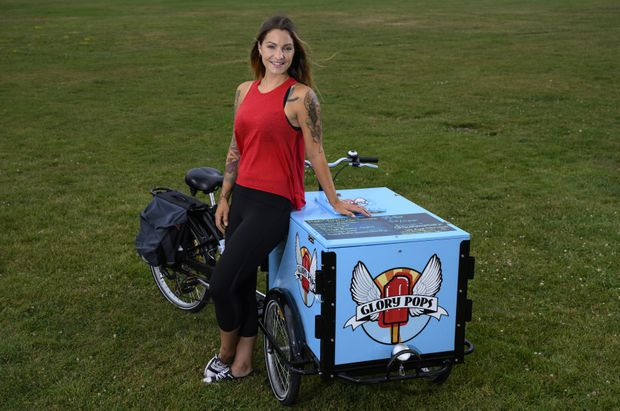 Susan Tung posing with her Glory Pop branded Icicle Tricycle Ice Cream Bike in Peterborough Ontario