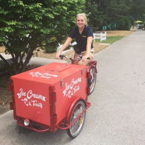 Employee of Storybook Gardens on Ice Cream Bike and Treats Trike in London Ontario Canada