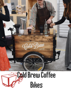 """Icicle Tricycle Cold Brew Coffee branded coffee bike in use at an event and the Icicle Tricycle logo with text """"Cold Brew Coffee Bikes"""" adjacent"""