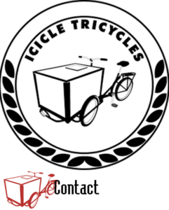 "Icicle Tricycles logo an another Icicle Tricycle logo with text ""Contact"" adjacent"
