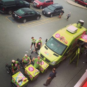 birds eye view of The Eat Fleet Tour out door advertising Ice Cream bike Sampling Carts on the Canadian National Tour in Vancouver British Columbia